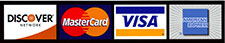 We accept Visa, Mastercard, American Express, And Discover Credit Cards